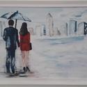 A város felé - akrilfestmény, Otthon, lakberendezés, Dekoráció, Falikép, 30 x 60 cm farostra készült akrilfestményem. Fehérre festett fa keretben. Modern, de mégis roma..., Meska