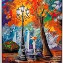 Séta az esőben - akril festmény, 40 x 30 cm, farostra, akril festékkel készített...