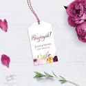 Esküvői Köszönetkártya, Bordó Virágos Köszönőkártya, Kísérőkártya, Köszönöm, Ajándékkártya, Ajándékkísérő, Esküvő, Naptár, képeslap, album, Meghívó, ültetőkártya, köszönőajándék, Képeslap, levélpapír, Esküvői köszönőkártya, bordó akvarell virágkoszorús grafikával, bohém és rusztikus stíl..., Meska