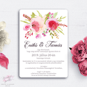 Vintage Rózsás Esküvői Meghívó, Akvarell Virágos Meghívó, Kézzel Festett Virágok, Vintage Esküvő, Romantikus Virágok