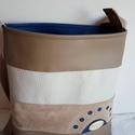 Kakaó nagy , Táska, Válltáska, oldaltáska, Textilbőrből készült  nagyobb méretű táska. Egyedi  lyukasztott díszítéssel. Kakaó  árny..., Meska