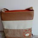 Karamell  kicsi , Táska, Válltáska, oldaltáska, Textilbőrből készült  kisebb méretű táska. Egyedi  lyukasztott díszítéssel. Mérete 32x 27..., Meska