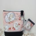 Kislányos táska+ pénztárca, Táska, Válltáska, oldaltáska, Táska lányoknak kisl?ny mint?s vászon és textilbőr kombinációja hozzáillő pénztárcával. ..., Meska