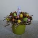 Zöld-sárga húsvéti asztaldísz, Dekoráció, Húsvéti díszek, Otthon, lakberendezés, Asztaldísz, Szárazvirágokból és termésekből készült húsvéti asztaldísz.  Méretei: Magasság: kb. 17 cm Átmérő: kb..., Meska