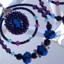 Kék-fekete-lila karika fülbevaló, Nagyon dekoratív, divatos ez a karika fülbevaló...