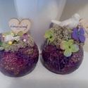 Anyák napjára!, Dekoráció, Dísz, Virágkötés, Üvegmozaik gyertyatartóba tűzőhabot tettem, erre selyem hortenzia szirmokat tettem, az üres részek ..., Meska