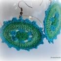 Türkiz tenger - Horgolt fülbevaló, Pamut horgolócérnából készült ez a 6 cm átm...