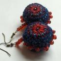 Kék Gombóc - Horgolt fülbevaló, Pufi, de könnyű fülbevalót készítettem pamut...