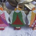 Boldog  Angyalkák - Karácsonyfadísz fenyőfából, Három különböző színű karácsonyfadísz. An...