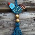 Kék Madárka - Fa kulcstartó, Aprócska madárka mindössze 5 cm. A kulcskariká...