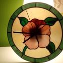 Tiffany fali óra, Dekoráció, Otthon, lakberendezés, Dísz, Falióra, Üvegművészet, 26 cm átmérőjű fali óra, melyet sajátkezűleg készítettem  Tiffany technikával., Meska