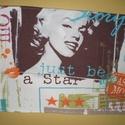 Just be a star - vintage teritő, Dekoráció, Otthon, lakberendezés, Lakástextil, Terítő, 80 cm hosszú, 30 cm széles lenvászon asztali futó, rövidebb oldalain csipke díszítéssel., Meska