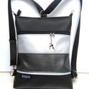 3in1 női hátizsák divattáska oldaltáska elegáns, Táska, Válltáska, oldaltáska, Hátizsák, Varrás, Fekete,metál sötétszürke és ezüst textilbőrből  készítettem ezt az úgymond 3in1 táskát. Lehet vállt..., Meska