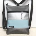 3in1 női hátizsák divattáska oldaltáska elegáns, Táska, Válltáska, oldaltáska, Hátizsák, Króm,pasztell világoskék és ezüst textilbőrből  készítettem ezt az úgymond 3in1 táskát. ..., Meska
