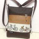 Biciklis 3in1 női hátizsák divattáska oldaltáska , Táska, Ruha, divat, cipő, Válltáska, oldaltáska, Hátizsák, Kakaóbarna és őzbarna textilbőrből,valamint pamutvászonból készítettem ezt az úgymond 3in1..., Meska