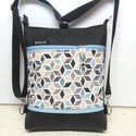 Kaleidoszkóp mintás 3in1 női hátizsák divattáska oldaltáska , Táska, Ruha, divat, cipő, Válltáska, oldaltáska, Hátizsák, Fekete  textilbőrből és  kaleidoszkóp mintás vastag canvas vászonból készítettem ezt az úg..., Meska