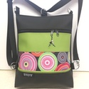 3in1 női hátizsák divattáska oldaltáska , Táska, Ruha, divat, cipő, Válltáska, oldaltáska, Hátizsák, Varrás,  Fekete és lime zöld textilbőrből ,valamint  amerikai pamutból készítettem ezt az úgymond 3in1 tásk..., Meska