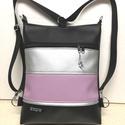 3in1 női hátizsák divattáska oldaltáska elegáns, Táska, Válltáska, oldaltáska, Hátizsák, Fekete,lila és ezüst textilbőrből  készítettem ezt az úgymond 3in1 táskát. Lehet válltásk..., Meska
