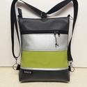 3in1 női hátizsák divattáska oldaltáska elegáns, Táska, Válltáska, oldaltáska, Hátizsák, Fekete,olívazöld és ezüst textilbőrből  készítettem ezt az úgymond 3in1 táskát. Lehet vá..., Meska