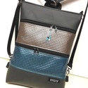 3in1 óriás laptop hátizsák oldaltáska, Táska, Ruha, divat, cipő, Laptoptáska, Hátizsák, Kiváló minőségű vastag matt fekete textilbőrből,valamint bronz és türkiz  színű mintás t..., Meska