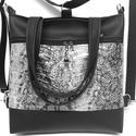 4in1 nagy csini fekete-ezüst(kígyó) univerzális táska hátizsák, Táska, Divat & Szépség, Táska, Válltáska, oldaltáska, Hátizsák, Fekete és ezüst(kígyóbőrmintás) textilbőrből készült ez a nagyméretű 4in1 elegáns táska. Kézifüle te..., Meska