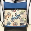 3in1 női hátizsák oldaltáska biciklis kék-fekete, Táska, Divat & Szépség, Egyéb, Táska, Válltáska, oldaltáska, Hátizsák, Fekete textilbőrből  és bicikli mintás pamutból készítettem ezt az úgymond 3in1 táskát. Lehet válltá..., Meska