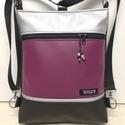 3in1 női hátizsák divattáska oldaltáska elegáns, Táska, Divat & Szépség, Táska, Válltáska, oldaltáska, Hátizsák, Fekete,mályvás lila és ezüst textilbőrből  készítettem ezt az úgymond 3in1 táskát. Használható,vállo..., Meska