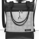 4in1 hátizsák univerzális rohangálós táska, Táska, Divat & Szépség, Egyéb, Táska, Hátizsák, Fekete textilbőrből készült táska, 3 dimenziós fonott mintás ezüst textilbőr díszítéssel. Elején egy..., Meska