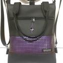 4in1 hátizsák univerzális rohangálós táska, Táska, Divat & Szépség, Egyéb, Táska, Hátizsák, Fekete textilbőrből készült táska, 3 dimenziós piramis mintás lila textilbőr díszítéssel. Elején egy..., Meska