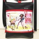 Lány kutyával 3in1 textilbőr divattáska hátizsák, Táska, Divat & Szépség, Táska, Válltáska, oldaltáska, Hátizsák,  Fekete  textilbőr és Izak Zenon tervezte pamut kombinációjából született ez a 3in1 divattáska,mely ..., Meska