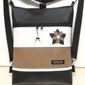 Csillagvirágos 3in1 női hátizsák divattáska oldaltáska elegáns, Táska, Divat & Szépség, Táska, Válltáska, oldaltáska, Hátizsák, Fekete,fehér és pasztell középbarna textilbőrből  készítettem ezt az úgymond 3in1 táskát. A táska ho..., Meska