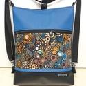 Buborékok 3in1 Textilbőr Hátizsák Fekete-Kék Felsővel, Táska, Divat & Szépség, Táska, Válltáska, oldaltáska, Hátizsák, Fekete és kék textilbőrből, valamint amerikai pamutból készítettem ezt az elegáns 3in1 táskát. A pam..., Meska