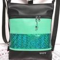 3in1 hátizsák univerzális táska zöld-zöld hologram, Táska & Tok, Variálható táska, Varrás, Fekete és mentazöld textilbőrből készült univerzális táska,  zöldes színes hologramos textilbőr dís..., Meska