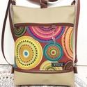 Mandala Mintás 3in1 Drapp-Beige Textilbőr Hátizsák Oldaltáska, Táska & Tok, Variálható táska, Varrás, Drapp textilbőrből, valamint  Michael Miller által tervezett gyönyörű amerikai pamutból készítettem..., Meska