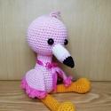 amigurumi flamingó, Játék & Gyerek, Horgolás, Eladó horgolt flamingó.Magassága ülve:15 cm, teljes hossza: 24.5 cm . 100% pamutfonalból és antiall..., Meska