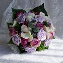 Üde tavaszi- nyári vintage menyasszonyi csokor, Esküvő, Esküvői csokor, Készítettem egy igazi tavaszi- nyári csokrot kellemes, üde, lilás árnyalatú  virágokból.Szép harmoni..., Meska