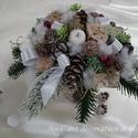 """Téli csokor., Esküvő, Otthon, lakberendezés, Dekoráció, Esküvői dekoráció, Virágkötés, Saját készítésű alapba készült és a saját """"törzsén"""" áll ez a vitathatatlanul téli csokor. Megidézi ..., Meska"""