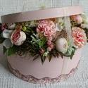 Elegáns virágdoboz a különleges alkalmakra...Valentin Nap, Esküvő, szülőköszöntő, anyák napja,születés., Esküvő, Szerelmeseknek, Otthon, lakberendezés, Dekoráció, Elegáns, egyedi, kézzel festett és 3 d mintával díszített háncs dobozt készítettem az igazán különle..., Meska