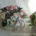 Virágdoboz romantikus stílusban. Nőnapra, Anyák napjára, szülőköszöntőnek..., Dekoráció, Otthon, lakberendezés, Esküvő, Ünnepi dekoráció, Romantikus vintage virágdobozt készítettem.Egyedileg kasíroztam a kartondobozt és színben, stílusban..., Meska