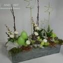 """Modern húsvéti dekoráció, asztaldísz... And-art mód., Húsvéti díszek, Otthon, lakberendezés, Dekoráció, Asztaldísz, """"Betonba"""" zárt modern tavaszi asztaldísz. Egyedileg neked.... Mérete: 33 cm x 15 cm x 35 cm. A gyert..., Meska"""