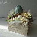 Húsvéti dekoráció, asztaldísz szolidan., Otthon, lakberendezés, Dekoráció, Húsvéti díszek, Asztaldísz, Kerámia hatású tojásokat készítettem, melyet a kézi készítésű fa dobozba terveztem, s harmonikus szí..., Meska