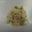 Vintage menyasszonyi csokor, Esküvő, Esküvői csokor, Esküvői dekoráció, Virágkötés, Mindenmás, Nagyon szép pasztell árnyalatú csokor. Beige, krémes rózsaszín és zöld színek kombinálásával készül..., Meska