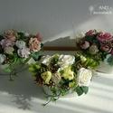 Laza nyári dekoráció- vintage stílusban. Több színből választhatsz, Ovális bádog tálba készítettem ezt a laza vir...