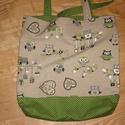Bélelt bevásárló táska, baglyos, zöld pöttyös, Táska, Szatyor, Válltáska, oldaltáska, Varrás, Vidám-erős-pöttyös-baglyos Zöldbaglyos vastag anyagot kombináltam zöld pöttyös vászonnal, így szüle..., Meska