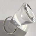 Egyedi, fehér tölcséres üveggyűrű, Ékszer, Gyűrű, Ez az egyedi gyűrű, egy melegen fúvott – már kicsorbult, használhatatlan - üvegkehely újrahasznosítá..., Meska