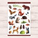 Meseerdő matrica szett - erdei állatos matricák, Játék & Gyerek, Készségfejlesztő & Logikai játék, Fotó, grafika, rajz, illusztráció, Papírművészet, Fényes felületű meseerdő matrica szett - erdei állatos matricák beltéri felhasználásra. Kiváló minő..., Meska