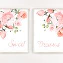 Virágos dekor poszter szett A4 - Sweet dreams - szép álmokat felirattal - 2 db-os szett, Otthon & Lakás, Dekoráció, Kép & Falikép, Fotó, grafika, rajz, illusztráció, Papírművészet, Virágos dekor poszter szett A4 - Sweet dreams - szép álmokat felirattal - 2 db-os szett (No.26)  Sz..., Meska