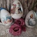 Húsvéti tojások, Dekoráció, Húsvéti díszek, Decoupage, transzfer és szalvétatechnika, Decoupage technikával, repesztéssel készített,   dekoratív locsolkodó ajándék! Természetesen a húsv..., Meska
