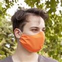 Férfi szájmaszk narancssárga pamutból - fiatalos arcmaszk opcionális dróttal tinédzser, kamasz, női és gyerek méretben, Narancssárga, feltűnő moshatószájmaszk Hallow...