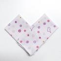 2 db puha női, kislány vagy gyerek zsebkendő kismadaras pamut anyagból karácsonyra, születésnapra, mikulásra, Fehér, rózsaszín, lila színű madárka mintás...